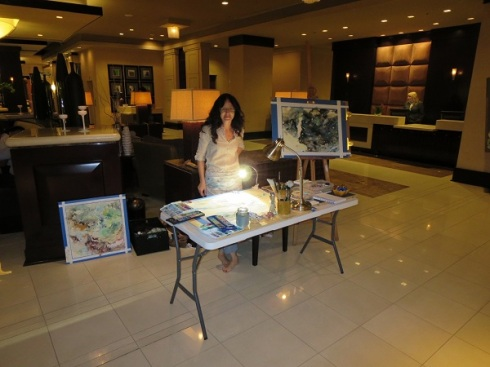 Charmagne Coe live painting at Renaissance Hotel