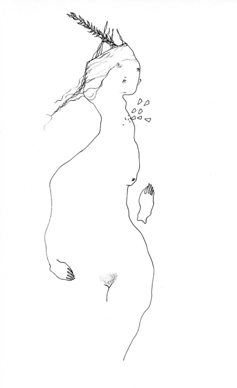 Stand, ink drawing by Charmagne Coe