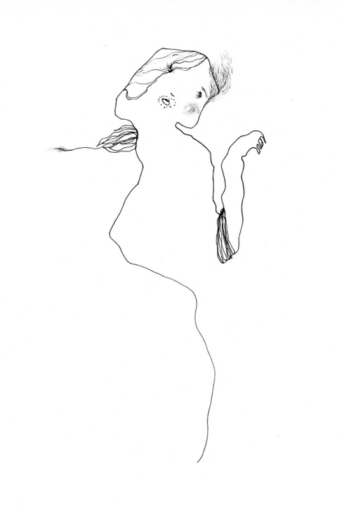 Slighter Than, Open Then, ink drawing by Charmagne Coe